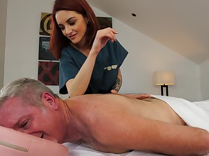 Redhead slutty masseuse Lola Fae pounds her older customer
