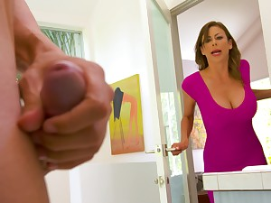Spotting her son's friend masturbating in the bm