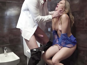 Blonde whore tries a chubby one in slay rub elbows with restaurant's toilet