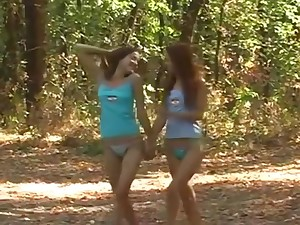 Teenie Cuties fuck perpetually other passionately in along to woods