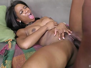 Ebony coddle jizzed on tits after a severe fuck