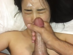 cute asian girl loves cum on their way face so immensely