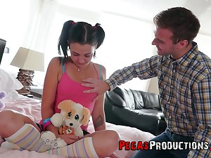 Charming 18 yo teen with pigtails Zoe Zebra loses her anal virginity