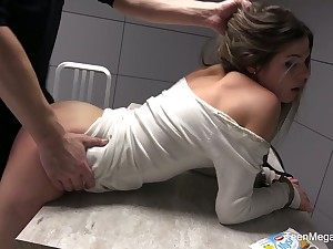 Whipping room is filled encircling moans of lusty Sarah Smith riding cop's cock