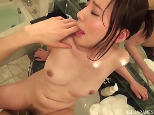 Brunette Japanese cutie Egami Shiho rides cock and takes cum in mouth