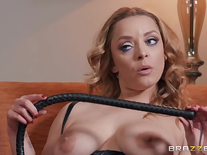 Blonde in leather utensil sits down with her ass on dick