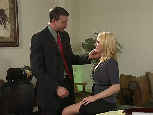 Cute secretary Codi Carmichael enjoys sex surrounding her boss in the office