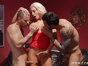 Two horny dudes are going to fuck Nicolette Shea like not anyone before