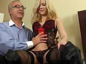 Cute Comme �a Teen Drilled by Grey-haired Man