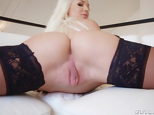 Elsa Jean strips plus teases with her juicy pussy plus gets a facial