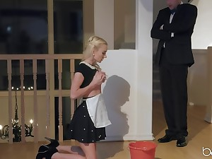 Husband comes habitation from dinner to have sex with the maid Molly Mae