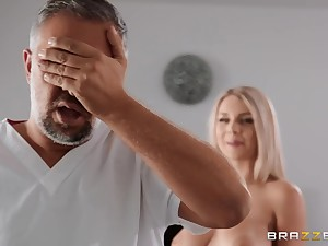Gabbie Carter grinds big cock of Keiran Lee with shaved pussy