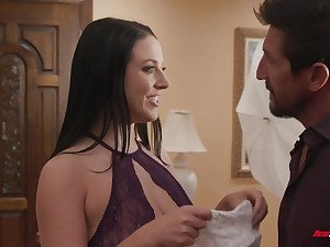 Always sex-starved wife Angela White takes cumshots on big on the level knockers