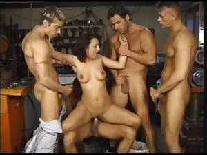 Assertive blonde is being gang banged by twosome powered studs