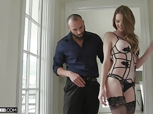 Hot wife Ashley Spur puts on stockings with an increment of sexy lingerie apropos seduce say no to husband