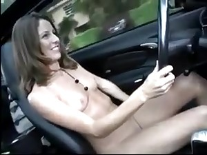 Pretty Young Girls drive naked and masturbate - public