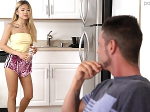Petiet tow-haired Lulu Chu strips in her room and gets a surprise fuck
