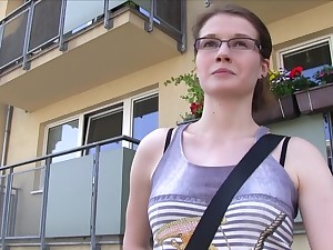 Random girl Julie Paradise with glasses gets fucked for money