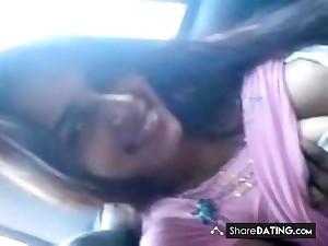 Desi beautiful latitudinarian in car and bj with bf