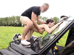 Passionate babe enjoys senior man's horseshit in both her tiny holes