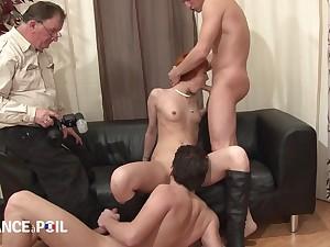 team a few cocks in redhead slut - french porn video